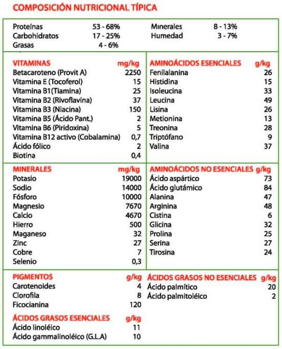 propiedades nutricionales espirulina